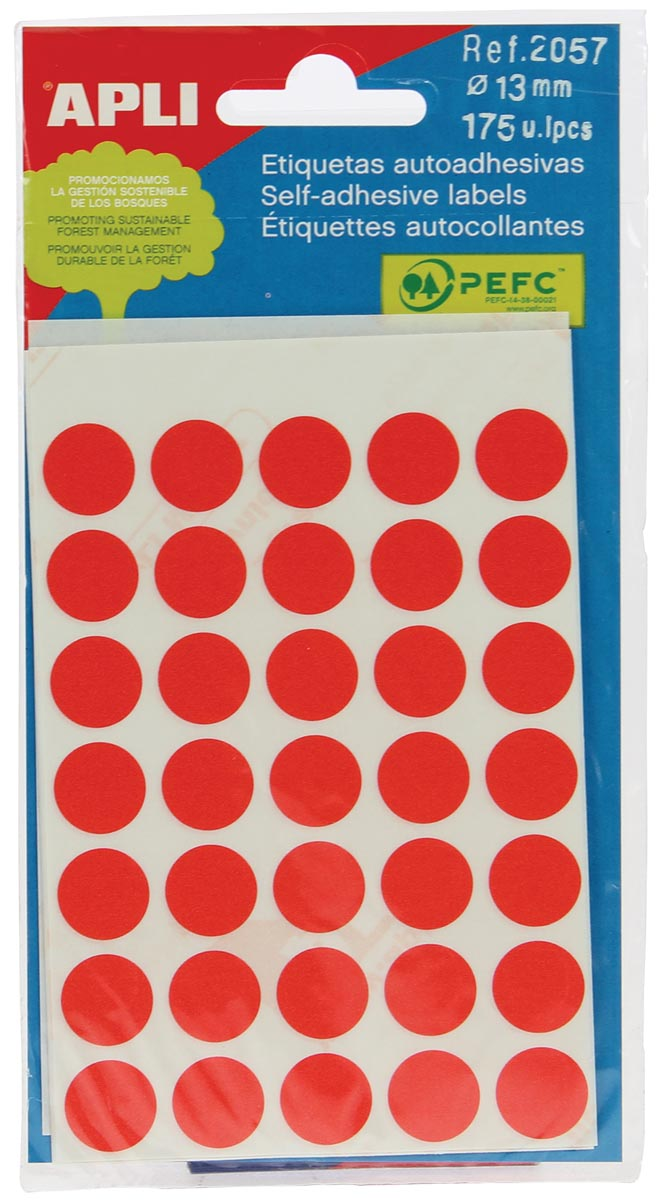 Apli ronde etiketten in etui diameter 13 mm, rood, 175 stuks, 35 per blad (2057)