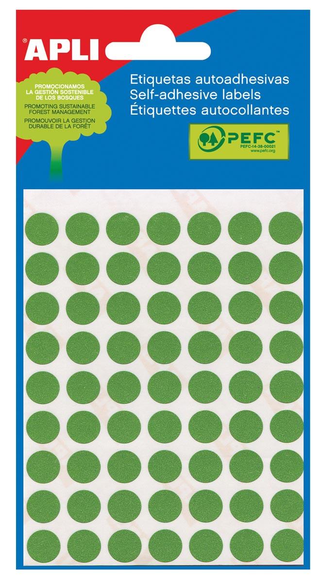 Apli ronde etiketten in etui diameter 13 mm, groen, 175 stuks, 35 per blad (2058)