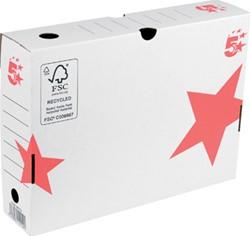 5 Star archiefdoos ft 25 x 33 x 8 cm (h x l x b), wit/rood
