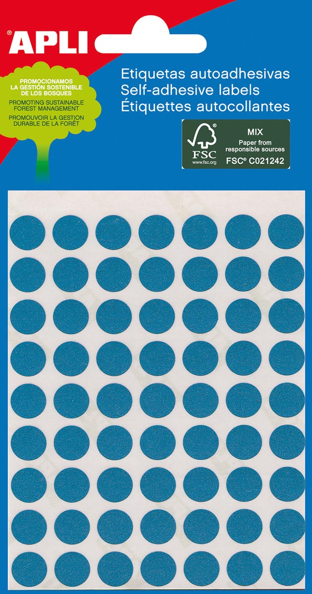 Apli ronde etiketten in etui diameter 8 mm, blauw, 288 stuks, 96 per blad (2045)