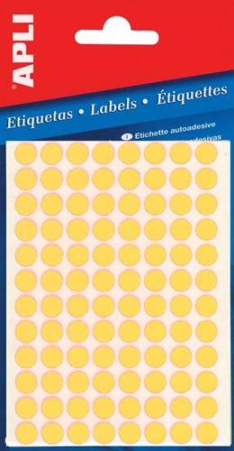 Apli ronde etiketten in etui diameter 8 mm, fluo geel, 288 stuks, 96 per blad (2079)