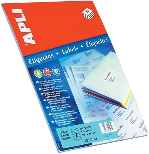 Apli etiketten ft 105 x 37 mm (b x h), rechte hoeken, 400 stuks, 16 per blad (1214)