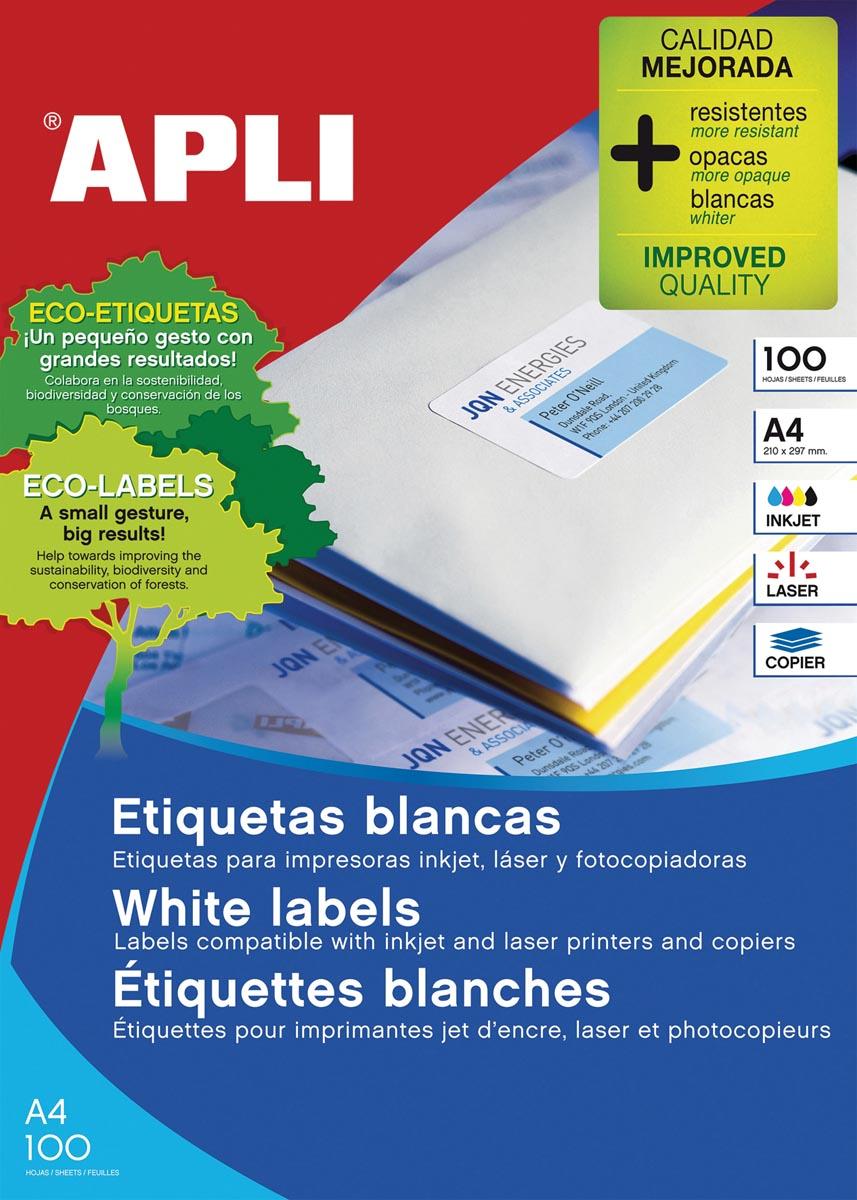 Apli witte etiketten Ft 105 x 148 mm (b x h), 400 stuks, 4 per blad (1280)