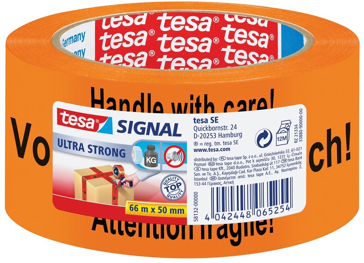 Tesa waarschuwingstape Extra Sterk, ft 50 mm x 66 m, oranje