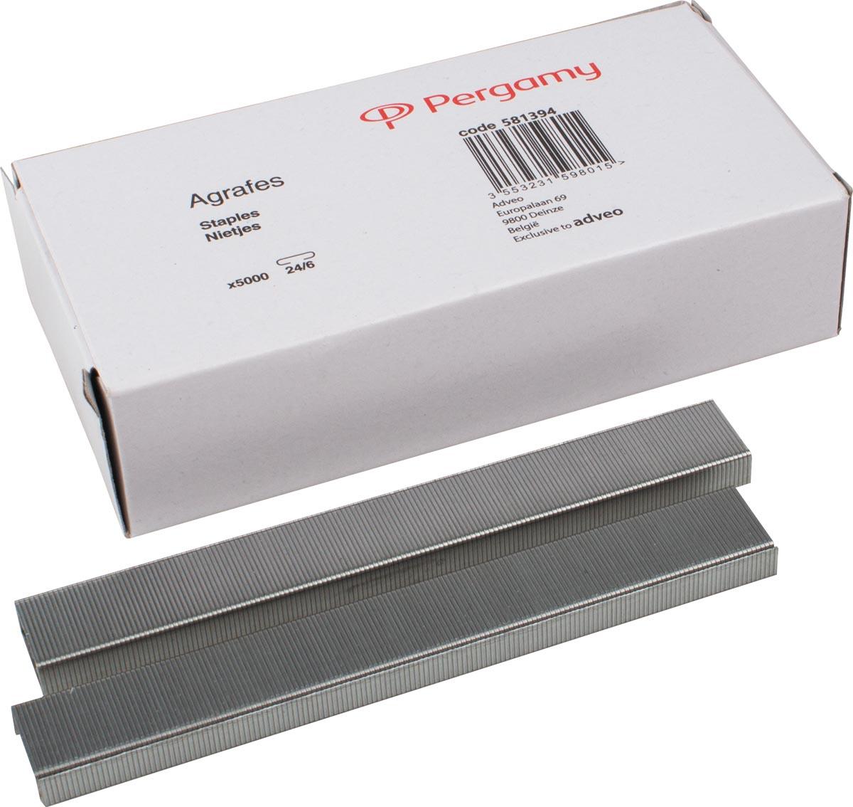 Pergamy nietjes 24/6, verzinkt, doos van 5.000 nietjes