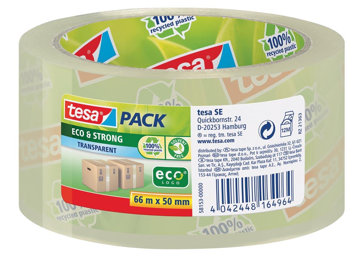 Tesapack eco & strong ecoLogo, ft 50 mm x 66 m, PP, transparant
