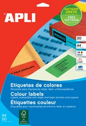 Apli Gekleurde etiketten ft 105 x 37 mm (b x h), rood, 320 stuks, 16 per blad (1597)