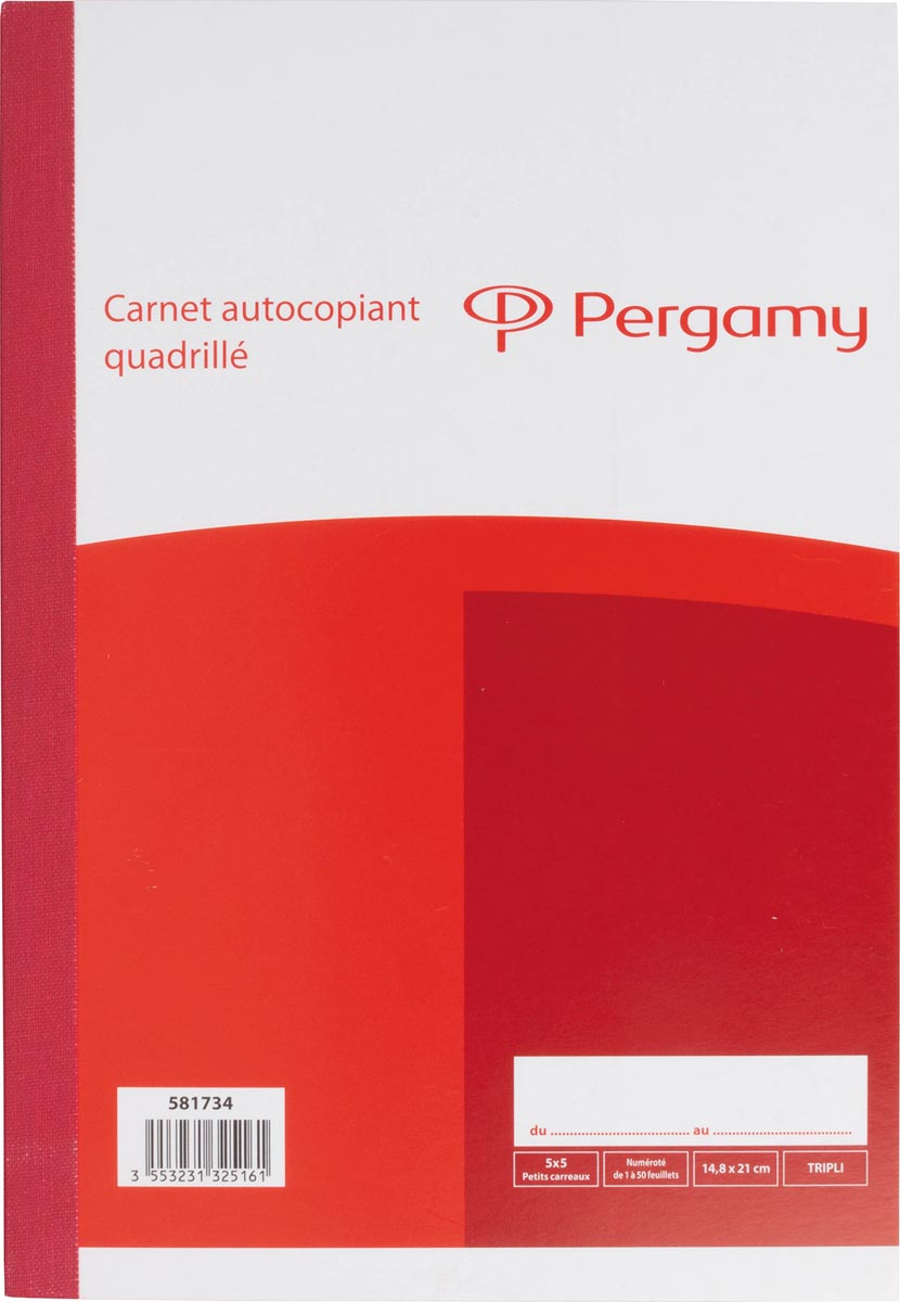 Pergamy orderboek, zelfkopiërend, drievoud, 3 x 50 vel, formaat 14,8 x 21 cm