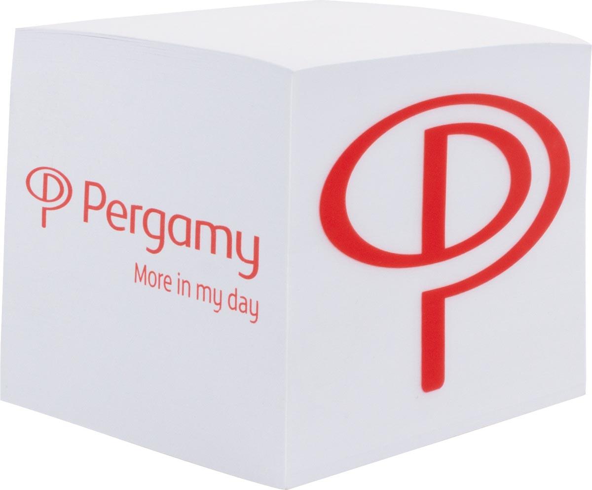 Pergamy memo kubus van 600 vellen wit papier, ft 9 x 9 x 8 cm