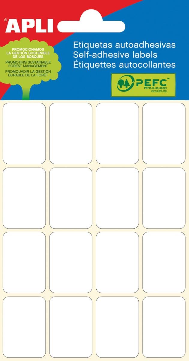 Apli witte etiketten ft 19 x 27 mm (b x h), 96 stuks, 16 per blad (2675)