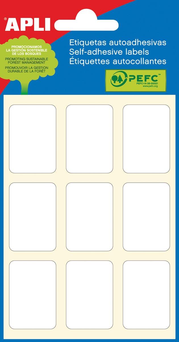 Apli witte etiketten ft 22 x 32 mm (b x h), 54 stuks, 9 per blad (2679)