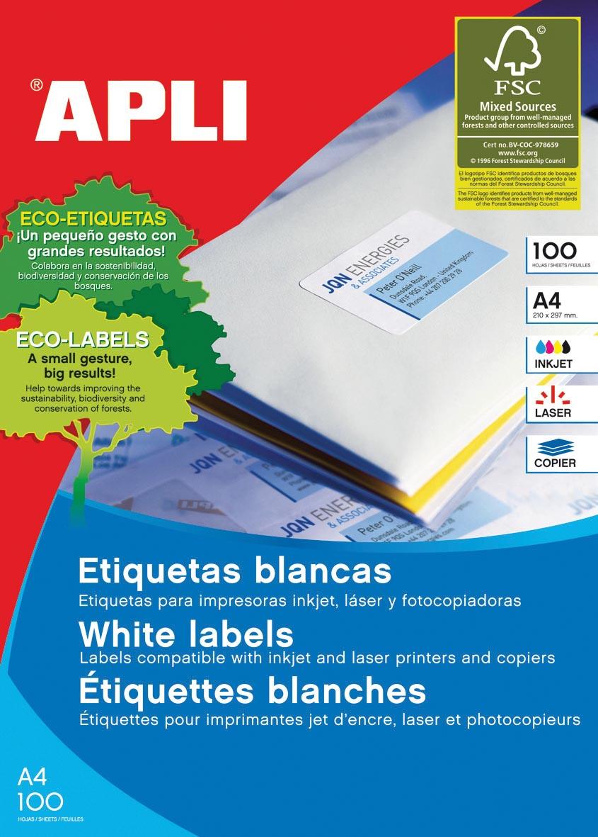 Apli Witte etiketten ft 64 x 33,9, ronde hoeken, 2.400 stuks, 24 per blad (2409)
