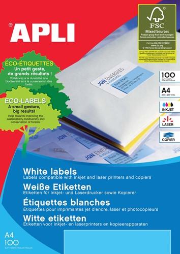 Apli Witte etiketten ft 199,6 x 289,1 mm (b x h), 100 stuks, 1 per blad (2412)