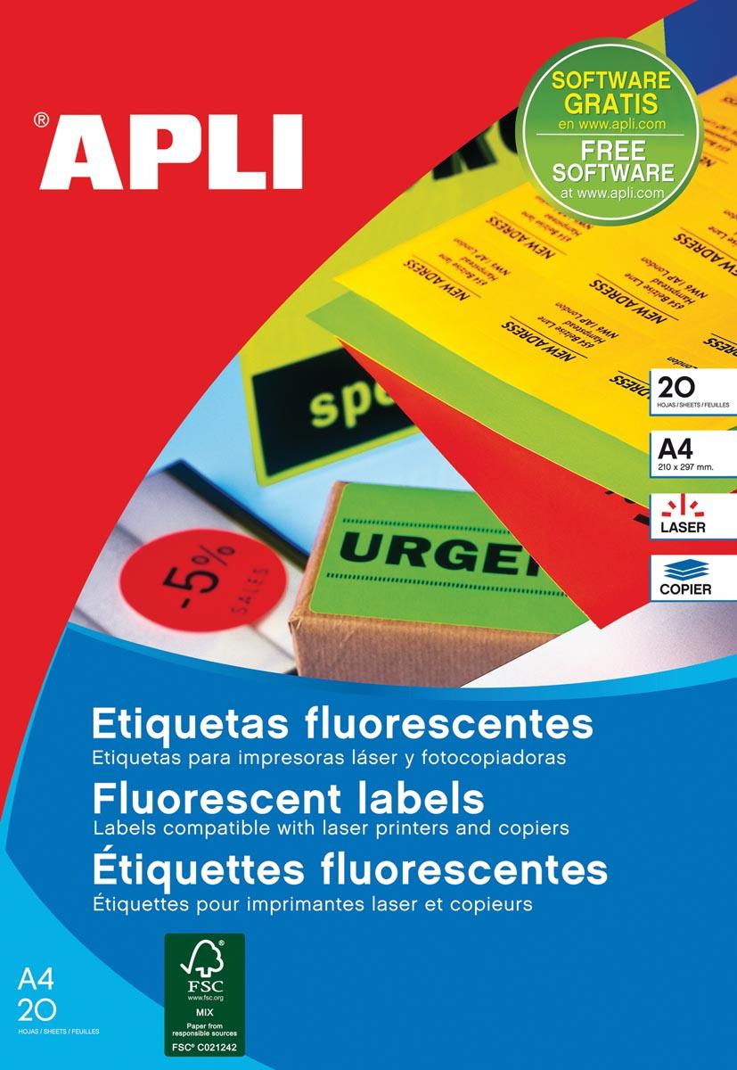 Apli fluorescerente etiketten 99,1 x 67,7 mm (b x h) rood