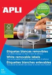 Apli afneembare witte etiketten ft 36,8 x 23,8 mm (b x h), 5.500 stuks, 55 per blad (3051)