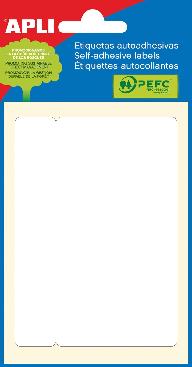 Apli witte etiketten ft 53 x 100 mm (b x h), 6 stuks, 1 per blad (2687)