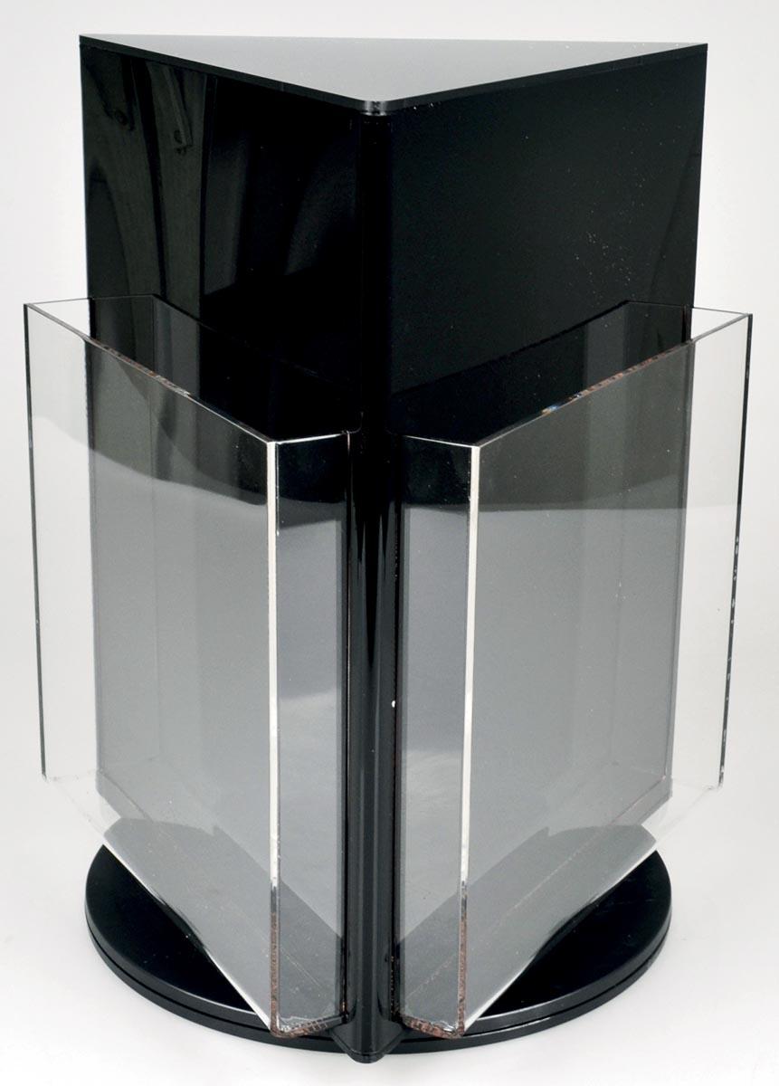 Deflecto roterende folderhouder met 3 compartimenten, formaat A4