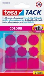 Tesa Tack gekleurde kleefpads roze, blister met 9 stuks