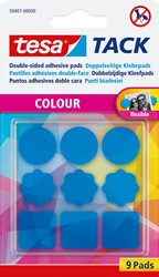 Tesa Tack gekleurde kleefpads blauw, blister met 9 stuks