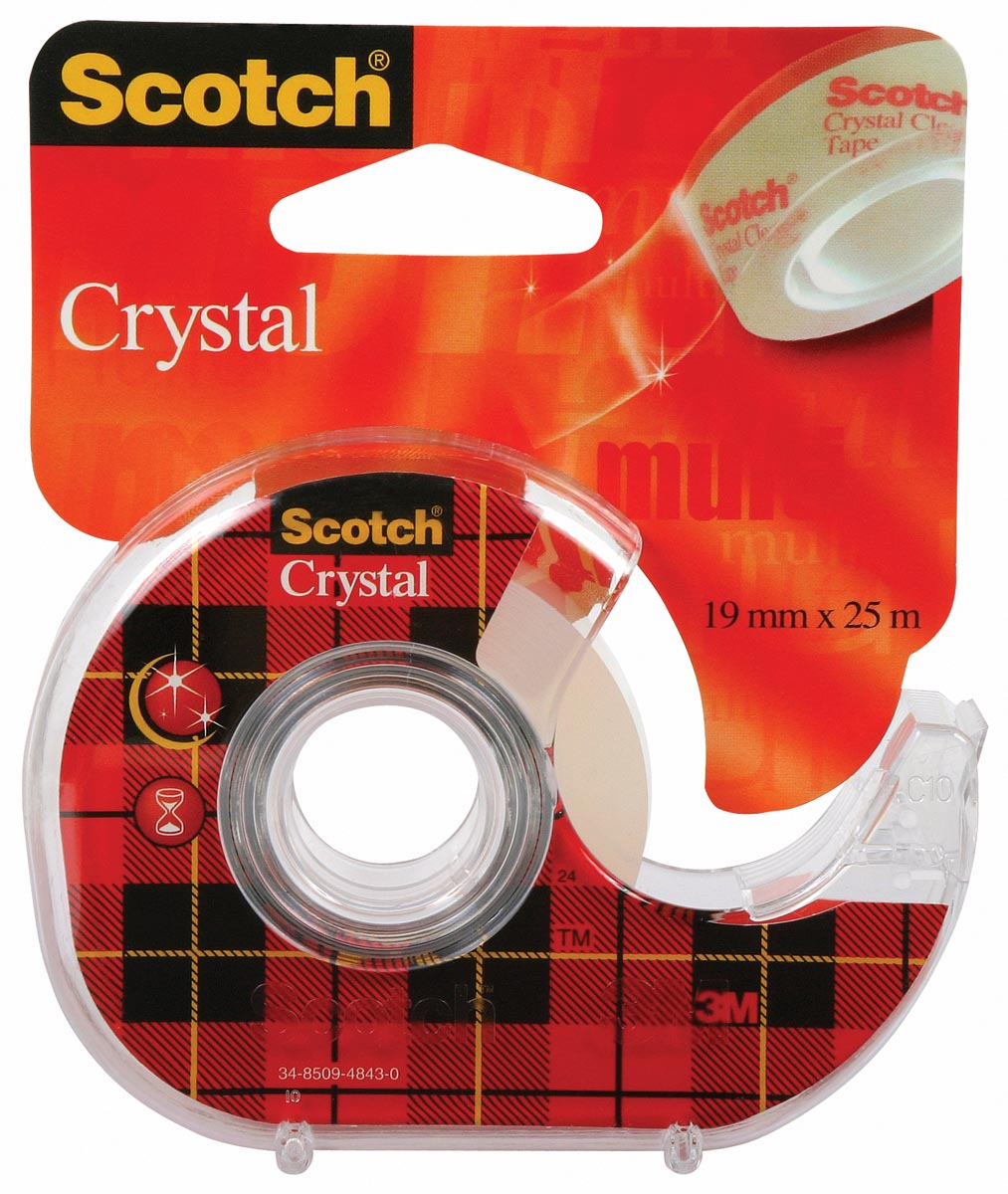 Scotch Plakband Crystal ft 19 mm x 25 m, blister met 1 afroller met 1 rolletje