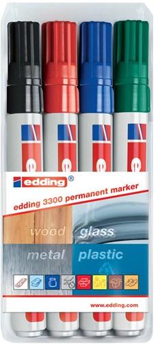 Edding permanent marker e-3300 blister van 4 stuks in geassorteerde kleuren