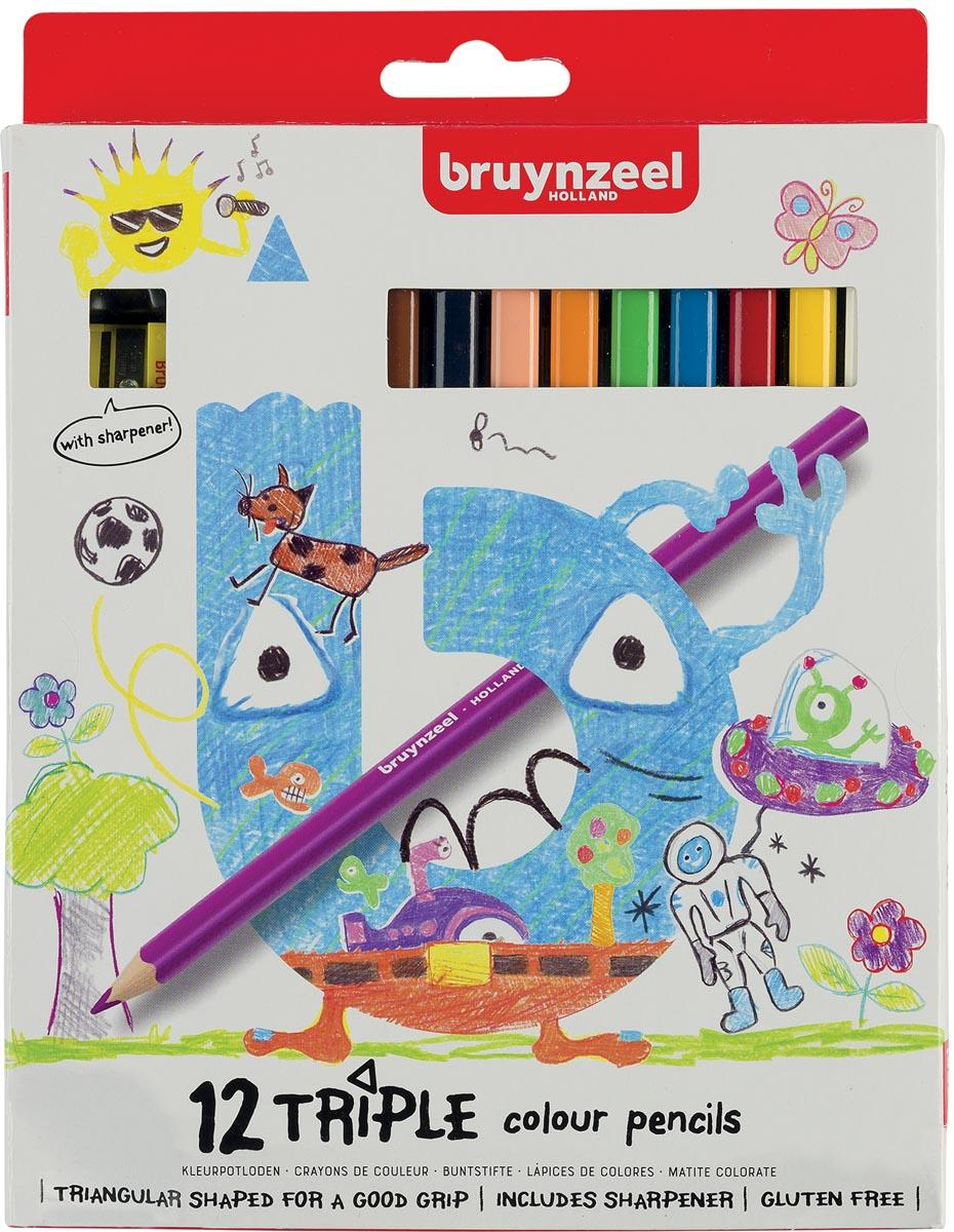 Bruynzeel Kids kleurpotloden Triple, blister van 12 geassorteerde kleuren
