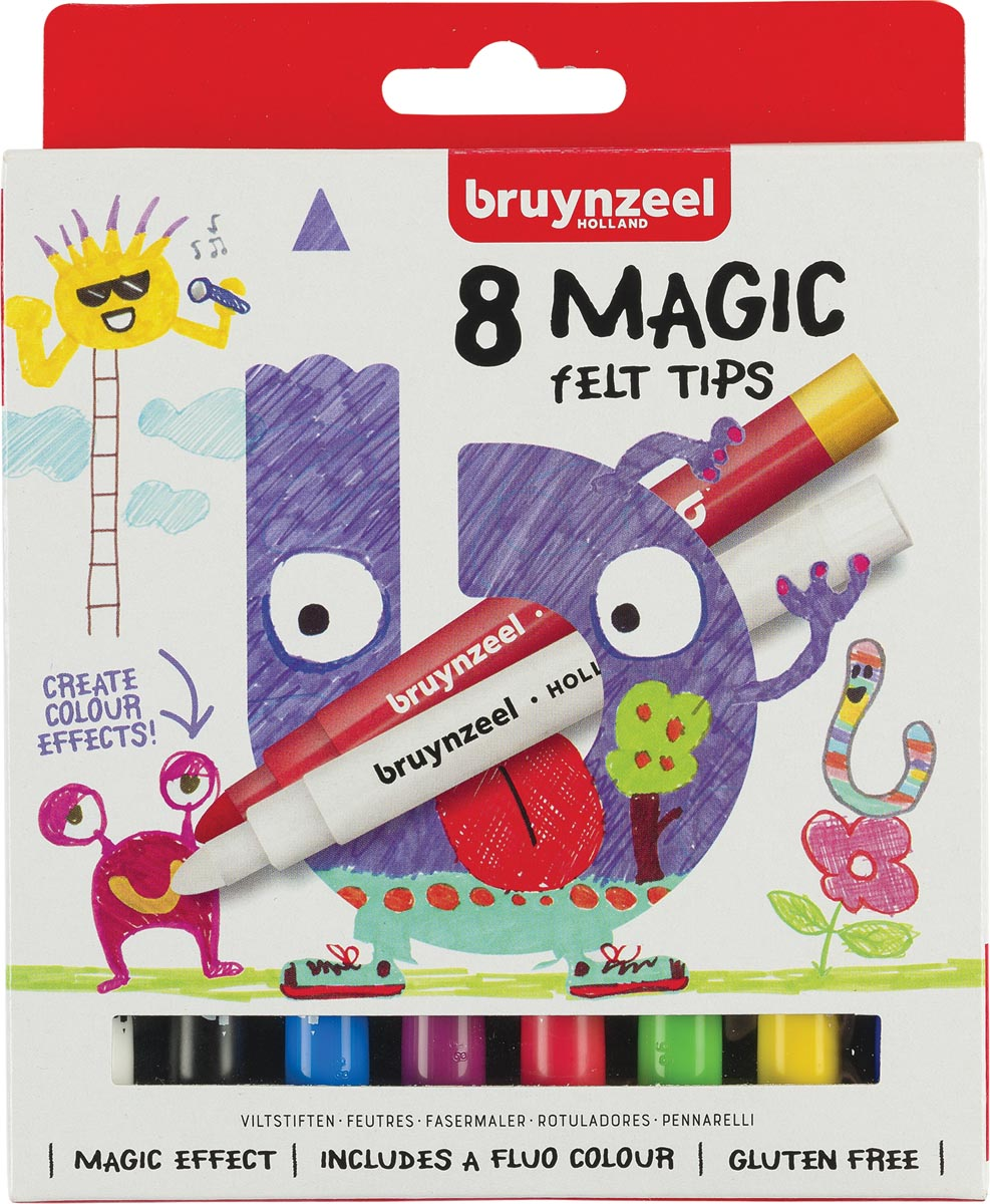 Viltstift Bruynzeel Kids Magic Points blisterà 8 stuks a...