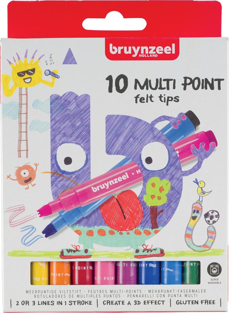 Bruynzeel Kids viltstiften Multi Point, etui van 10 geassorteerde kleuren