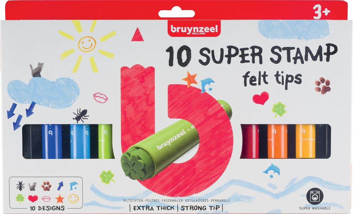 Bruynzeel Kids viltstiften Super Stamp, etui van 10 geassorteerde kleuren