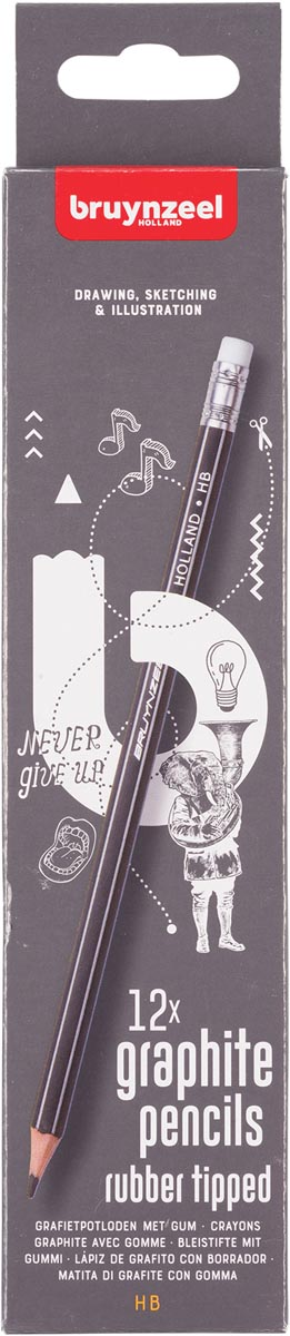 Bruynzeel grafietpotlood HB met gom, set van 12 stuks