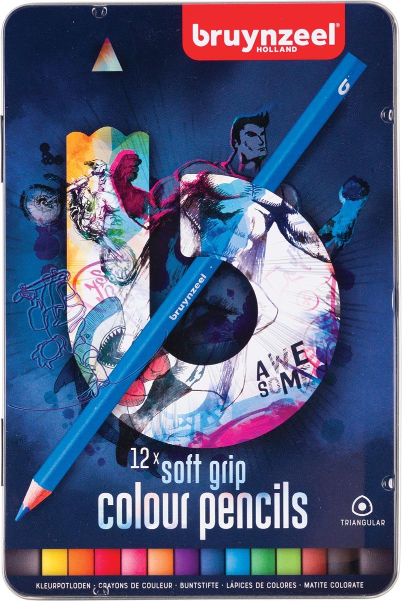 Bruynzeel kleurpotloden Teens Triple Soft Grip, metalen doos van 12 stuks
