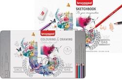 Bruynzeel kleurpotloden Celebration Set 70 jaar inclusief schetsboek, 65 potloden