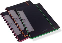 Adoc schrift Coloredge, ft A4, commercieel gelijnd, met rode kantlijn, 144 bladzijden, assorti kleuren