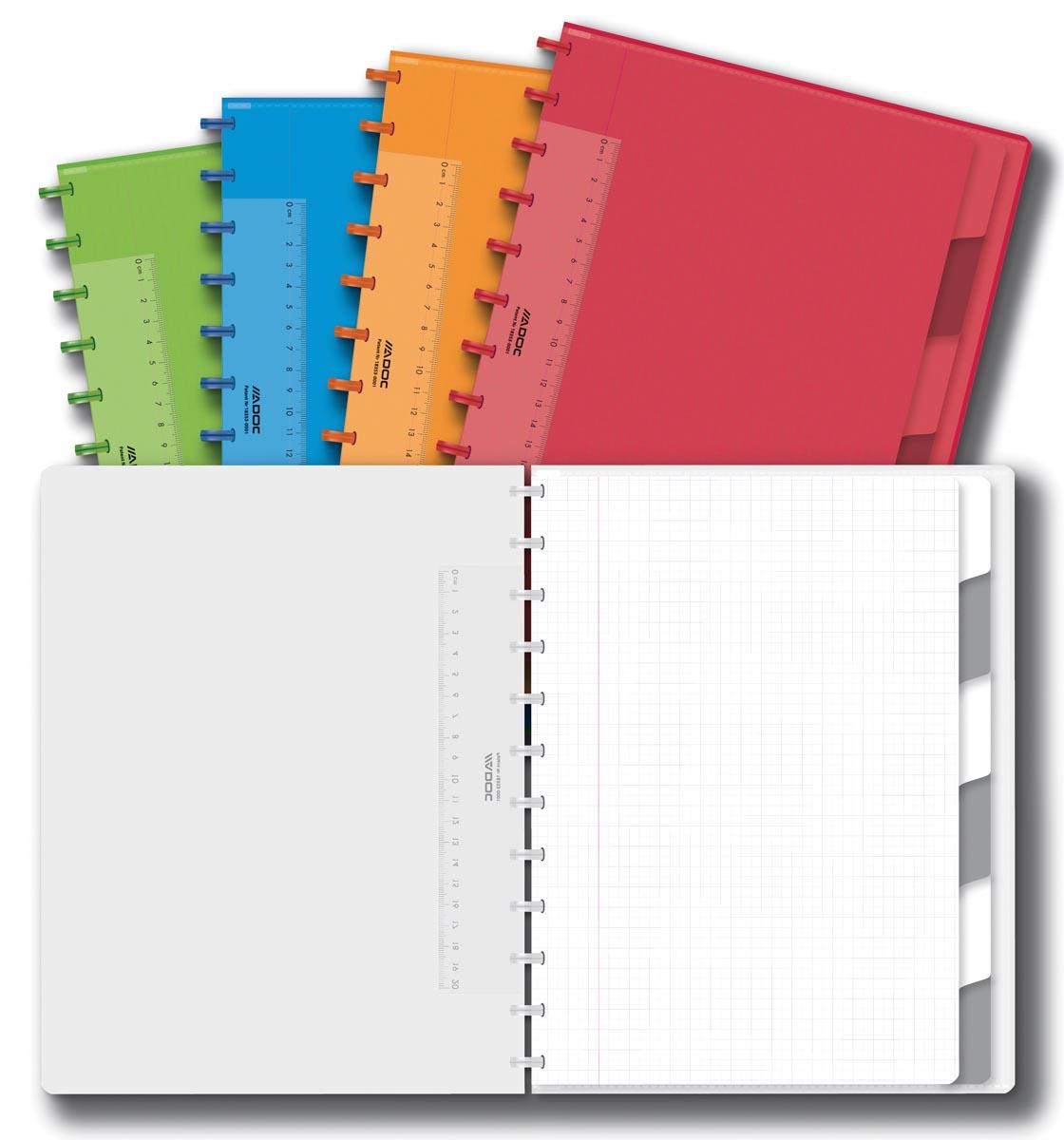 Adoc Colorlines schrift, ft A4, 144 bladzijden, geruit 5 mm, geassorteerde kleuren