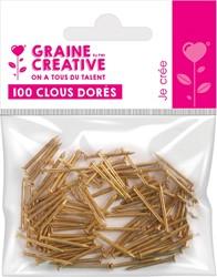 Graine Créative spijkers, 20 mm, blister van 100 stuks, goud