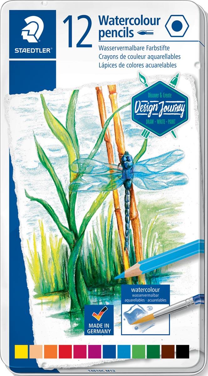 Staedtler aquarel potlood, metalen doos met 12 kleuren