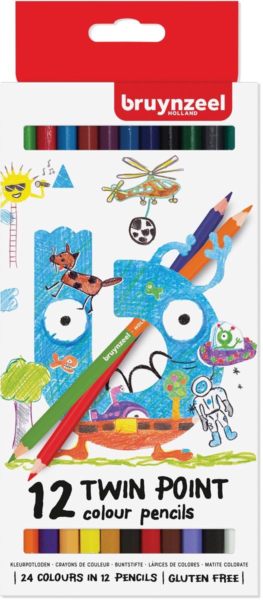 Bruynzeel Kids kleurpotloden Twin Point, set van 12 stuks in geassorteerde kleuren