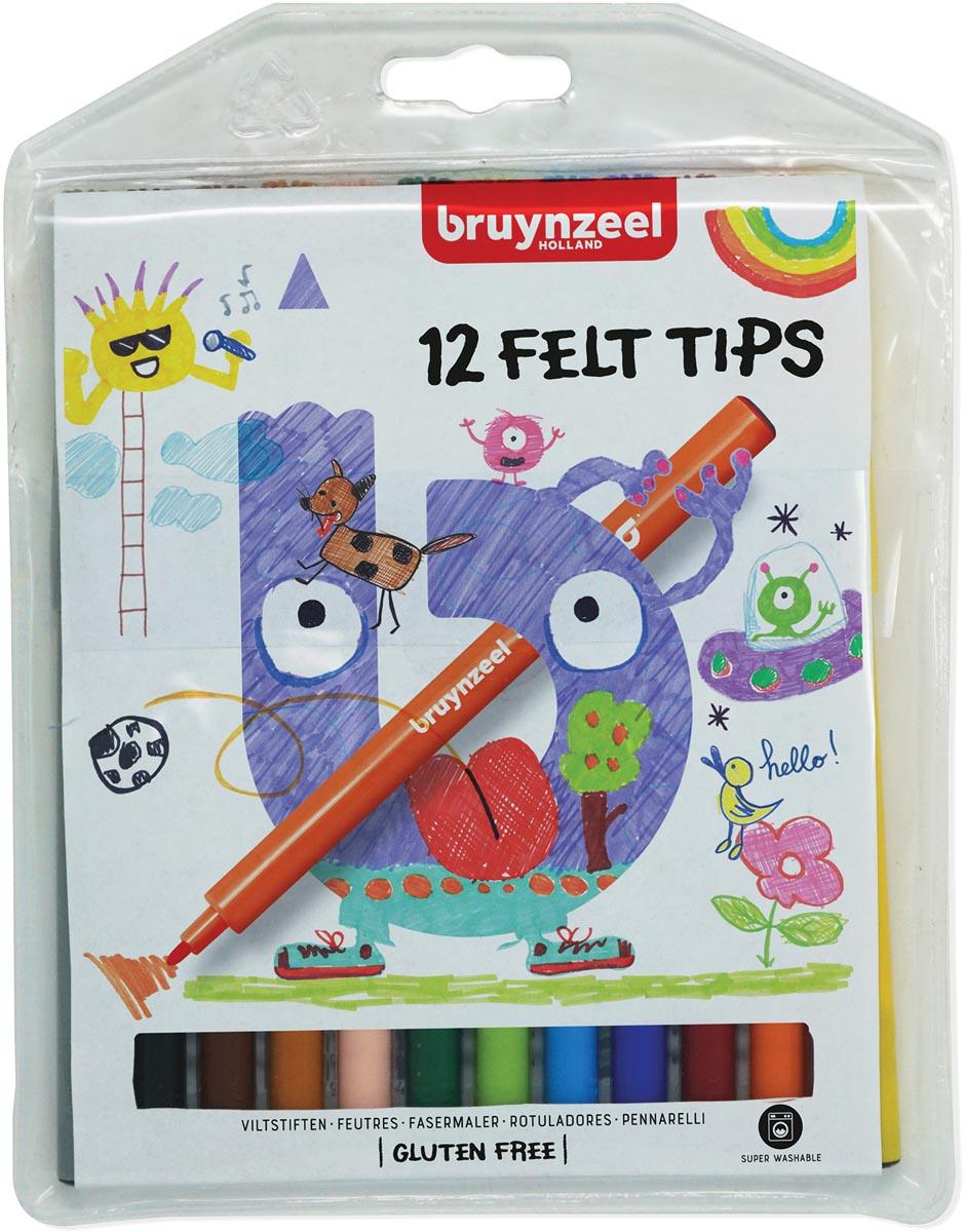 Viltstift Bruynzeel Kids etuià 12 stuks assorti