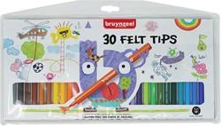Bruynzeel Kids viltstiften, etui van 30 stuks in geassorteerde kleuren
