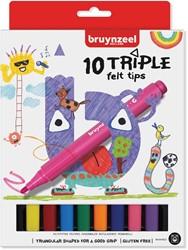 Bruynzeel Kids viltstiften Triple, set van 10 stuks in geassorteerde kleuren