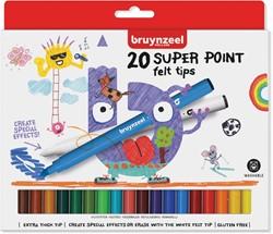 Bruynzeel Kids viltstiften Super Point, set van 20 stuks in geassorteerde kleuren