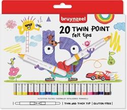 Bruynzeel Kids viltstiften Twin Point, set van 20 stuks in geassorteerde kleuren