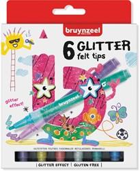 Bruynzeel Kids  viltstiften Glitter, set van 6 stuks in geassorteerde kleuren