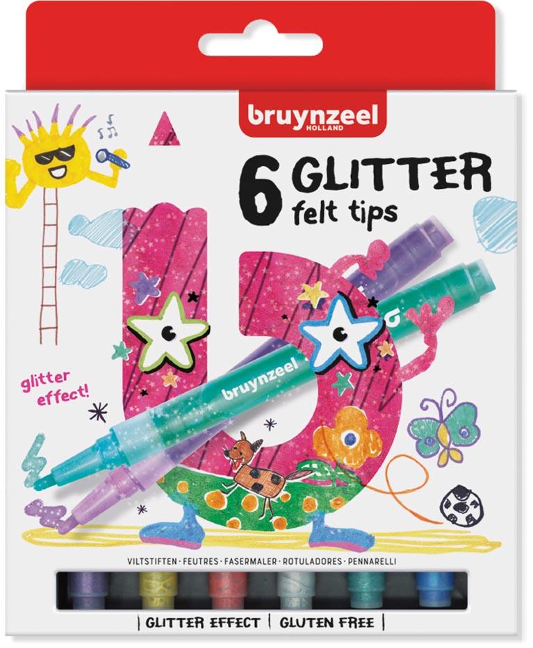 Bruynzeel glitter stiften 6 stuks