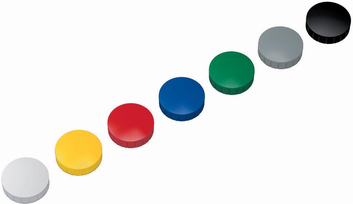 Maul magneet MAULsolid, diameter 38 x 15,5 mm, geassorteerde kleuren, doos met 10 stuks