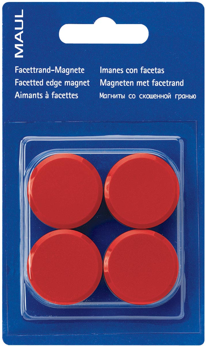Maul magneet MAULsolid, diameter 20 mm, rood, blister van 8 stuks