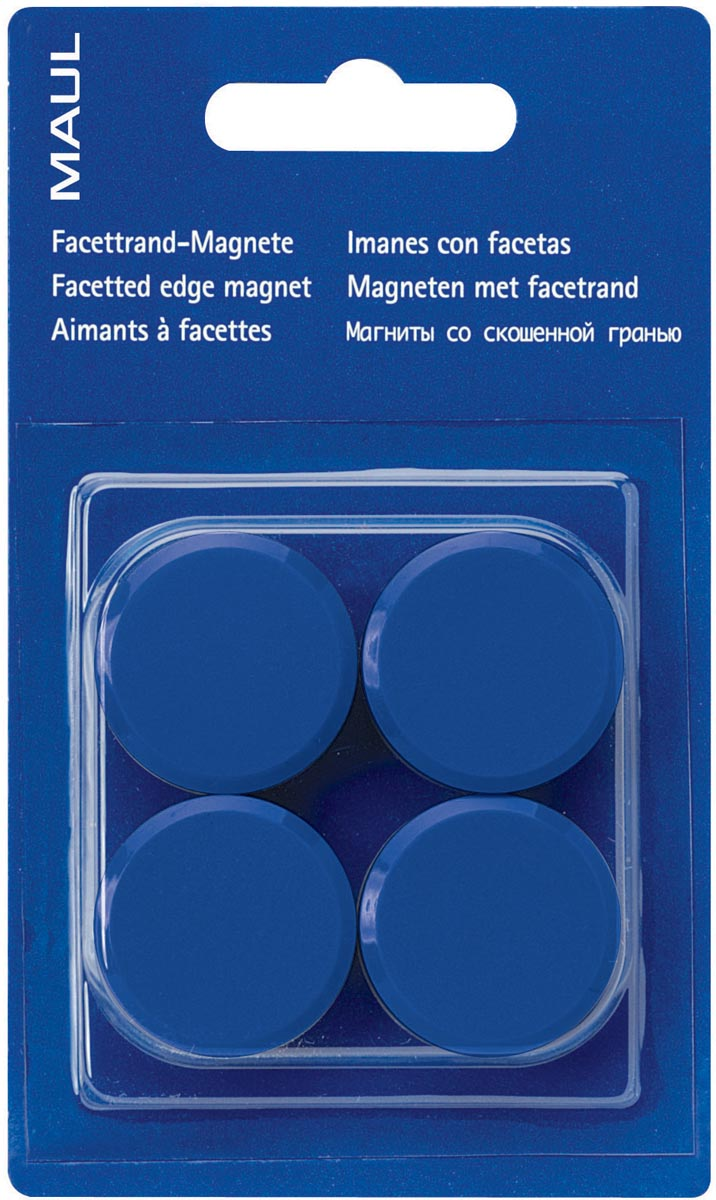 Maul magneet MAULsolid, diameter 32 mm, blauw, blister van 4 stuks