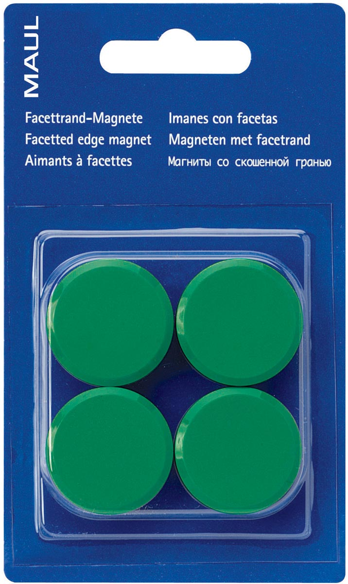 Maul magneet MAULsolid, diameter 32 mm, groen, blister van 4 stuks