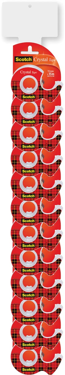 Scotch Crystal tape ft 19 mm x 15 m, 2 clipstrips met elk 12 blisters