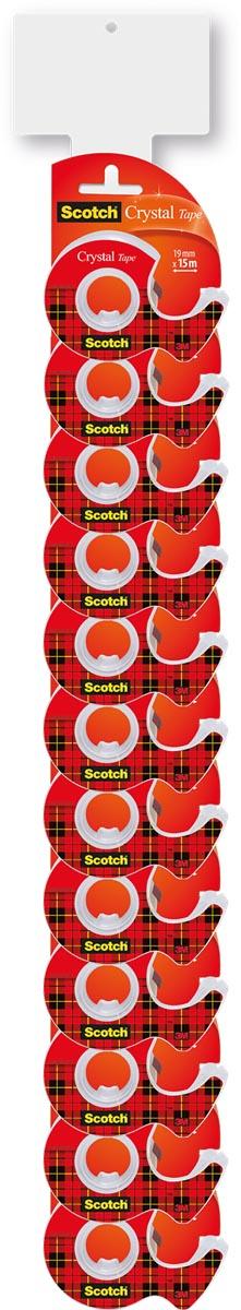 Scotch Crystal clear tape in dispenser, 19 x 12m + 3,2m gratis ,2 clipstrips van elk 12 blisters